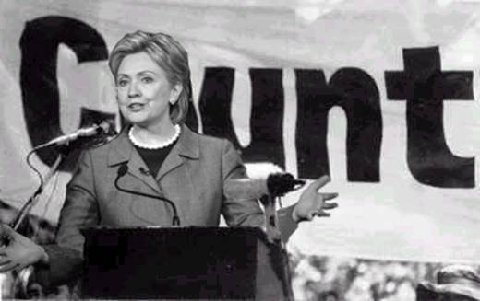 Hillary in front of C unt